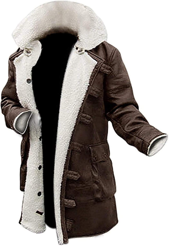Shearling Leather Coat for Men - Swedish Bomber Leather Jacket Fur Coat