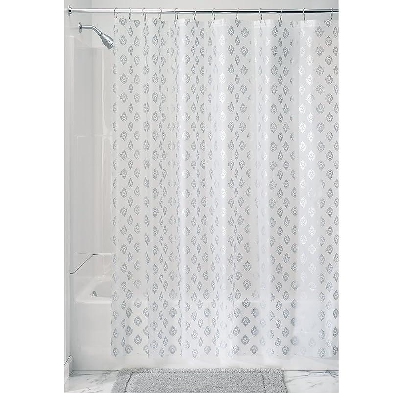 除去自慢ケイ素InterDesign プリント シャワーカーテン 裏地 ビニール素材 Florence PVCフリー 3ゲージ シルバー 36399EJ