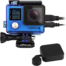 SOONSUN Side Open Protective Skeleton Housing Case with LCD Touch Backdoor and Silicone Lens Cap Cover for GoPro Hero 4, Hero3+, Hero 3 Camera - Transparent Blue