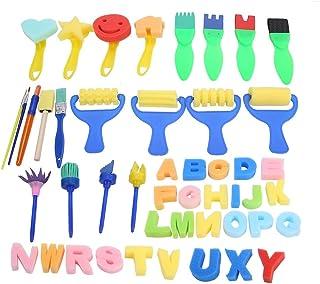 47 Pièces Kits de Peinture Pinceaux Éponge DIY Rouleau Peinture Enfant Gribouillage Loisir Créatif Kit D'apprentissage Des...