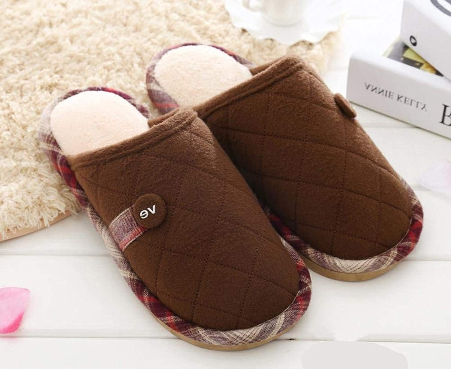 Men 's Home Cotton Slippers Indoor Keep Warm Casual Slippers Soild color Personality Quality for Men Large Brown