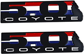1 Pair New 5.0 / 50 Coyote Direct Emblem 3D Badge Replacement for EM2430 302 Boss Mustang GT F150 (Black)