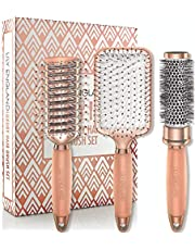 Hair Brush Set - Luxury Professional Hairbrush Gift Set by Lily England for All Hair Types, Rose Gold