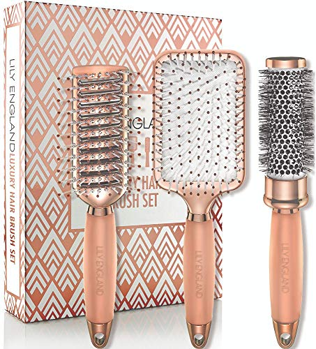 Lily England Hair Brush Set - Luxury Professional Hairbrush Gift Set for All Hair Types, Rose Gold