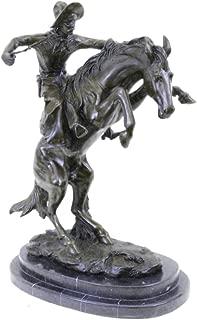 Handmade European Bronze Sculpture Bronco Buster Remington Western Cowboy Horse Rodeo Rider Marble Bronze Statue -EUDS-311-Decor Collectible Gift