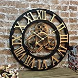 HBWJSH Silencieux 3D Style européen rétro créatif Horloge Murale Industrielle engrenage Art personnalité Salon décoration Horloge (Taille : 27 inches)