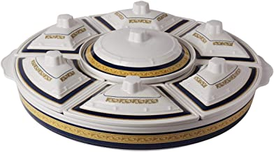 Hoover Melamine Imperial 16 Pieces Revolving Party Serving Set, White