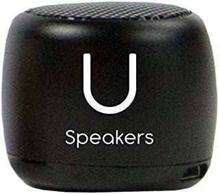 U Micro Speaker - Coin-Sized Portable Wireless Bluetooth 4.2 (Black) - TWS Stereo Sound with Built-in Mic and Remote Shutter - 3Hour Playtime, Aluminum - Perfect for Apple iPhone iOS Android