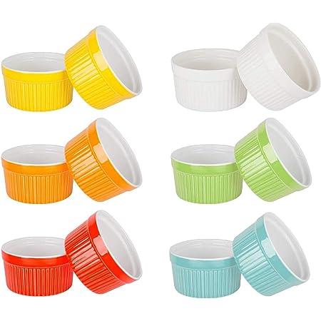 DUDDP Moules de Cuisson Souffl/é Ramekins Vaisselle en Porcelaine 240ml gaufr/ée Souffl/é Cr/ème brul/ée for la Cuisson et trempettes Gradient de Couleur Glaze Anneau Motif de Cuisson Bowl Color : 6pcs