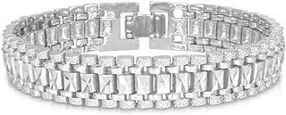سوار U7 مجوهرات الرجال سلسلة المعصم الفولاذ المقاوم للصدأ مطلي بالذهب الثقيل ربط سلسلة سوار للرجال النساء ، هدية الزوج ، ا...