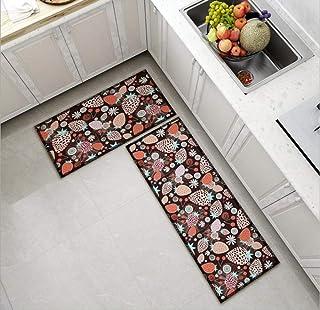 قطعتان من سجاد المطبخ سجادة حمام مانعة للانزلاق ومدخل باب مقاوم للاهتراء ماكينة قابلة للغسل بنمط فراولة 60 * 90 + 60 * 180 سم