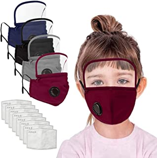 JSPOYOU Kids Washable Reusable Face With Filter And Detachable Eye Shield
