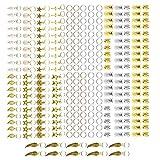 YINETTECH Juego de 290 extensiones de metal dorado y plateado
