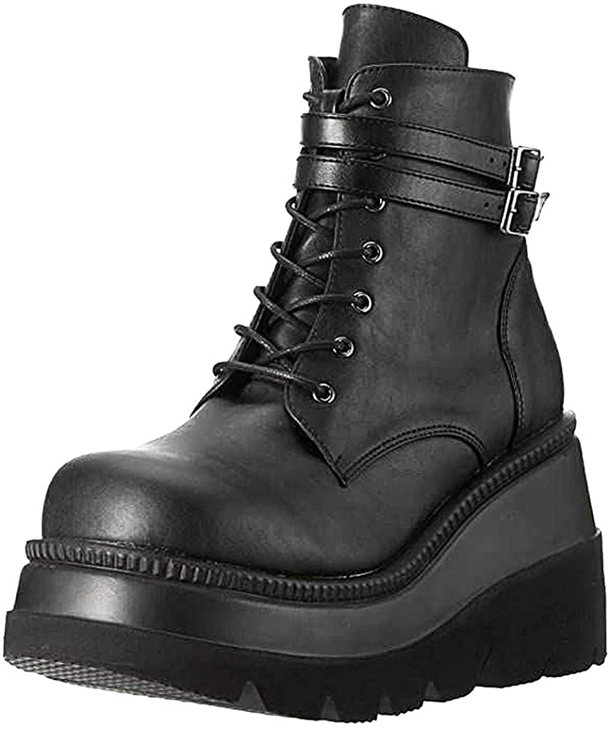 Gibobby Boots for Women,Fashion Chunky High Heel Ankle Booties Platform Lace up Boots Motorcycle Boots Military Combat Boots