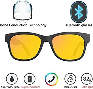 Bone Conduction Sunglasses 4.1 Wireless Bluetooth Stereo Headphones Polarized Sunglasses Accepted Compatible with Smart Phone iPhone HTC LG Samsung Android Windows (Yellow)