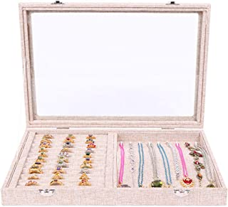 OMAS 2 in 1 Earring Ring Jewelry Display Velvet Ring Tray Organizer Storage Show Box