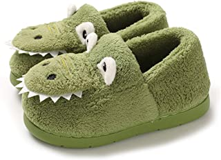 ENERCAKE Toddler Boys Girls House Slippers Cartoon Dinosaur Warm Home Shoes Indoor Bedroom