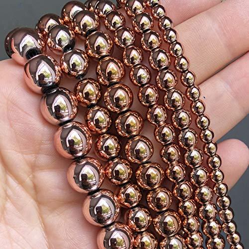 Cuentas de Piedra Natural de hematita de Oro Rosa, Cuentas Redondas Sueltas para joyería, fabricación de Bricolaje, Accesorios de Pulsera, 15 Pulgadas, 3 4 6 8 10 Mm 10mm (Approx 36pcs)