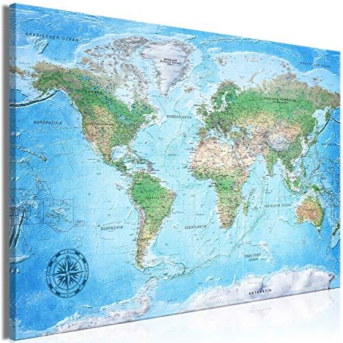 decomonkey | Mega XXXL Bilder Weltkarte | Wandbild Leinwand 165x110 cm Selbstmontage DIY Einteiliger...