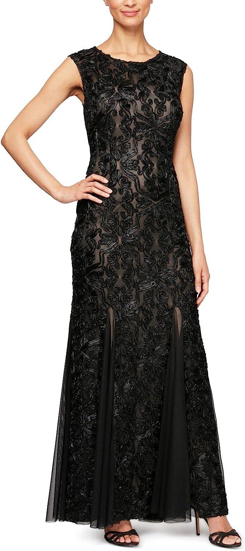 Alex Evenings Women's Long A-line Rosette Dress-Discontinued