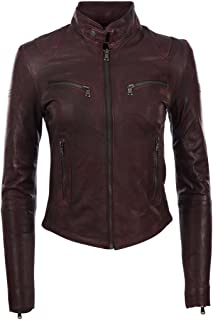 MDK Women's Super Soft Ladies Real Leather Stylish Fitted Biker Jacket