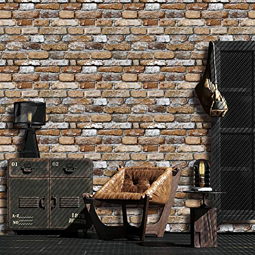 JZ·HOME 7203 Brown/Cement Grey Brick Wallpaper Roll,3D Vintage Faux Brick Panel Wallpaper for Bedroom Living Room Cafe Bar Wall Decoration 393.7in×20.8in