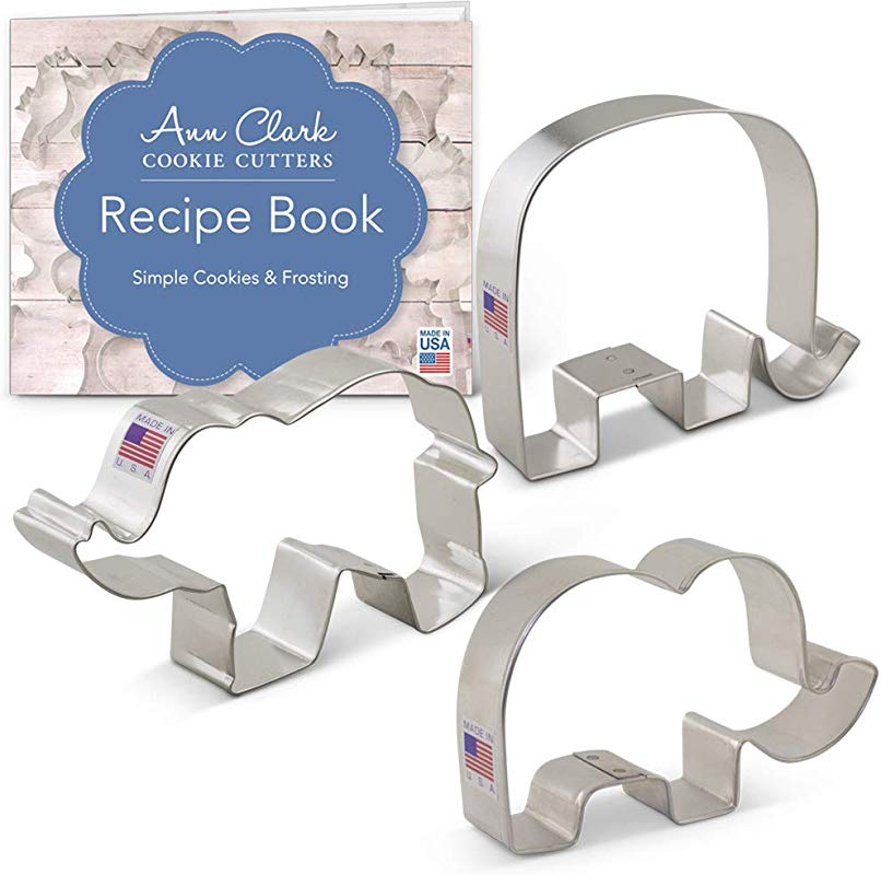 Ann Clark Cookie Cutters 3 Piece Elephant Cookie Cutter Set With Recipe Booklet