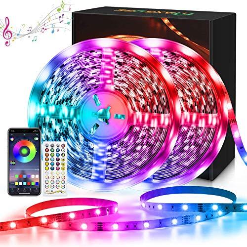 Maxsure Striscia LED 20M Bluetooth, RGB 5050, Nastri LED, Telecomando, Tagliabile, Multicolore, Funzione di Memoria, Sincronizzazione con Musica, Soggiorno, Camera, Feste, Natale, Non Impermeabili