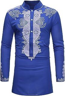 Mens Shirt Dashiki Long Sleeve African Tshirts Casual Crew Neck African Style Long Tops Long Sleeve Ronamick Shirt Fashion...