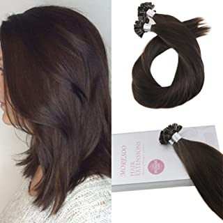 Moresoo 18 Inch U Tip Brazilian Hair Extensions Remy Human Hair Fusion Extensions Color #2 Darkest Brown Nail Tip Pre Bonded Human Hair Extensions 1g/1s 50G