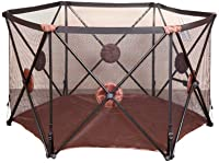 Baby Playpen Kids Activity Centre Safety Play Yard Home Indoor, Breathable Waterproof Net Easy To Install And Carry Hexagon Baby Game Brown