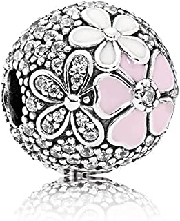 Angelbeads Poetic Blooms Clip Pink and White Enamels & Clear CZ 925 sterling silver