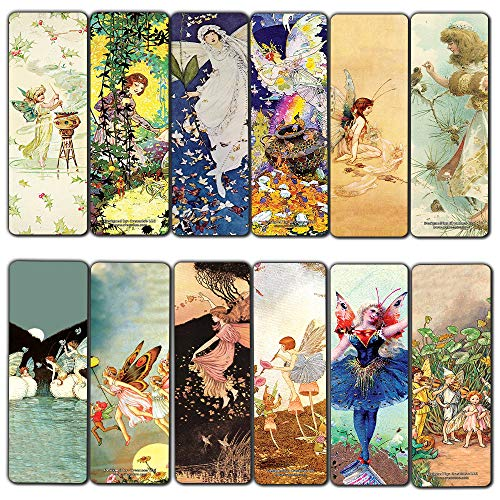 Creanoso Fairies Bookmarks (30-Pack) - Unique Art Impressions Book Binder - Stocking Stuffers Gift for Bookworms, Men & Women, Teens – Inspiring Drawings Page Clip - Cool Book Reading Rewards Pack