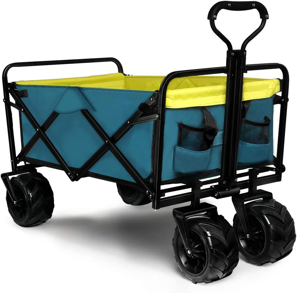 Knowlife Folding Collapsible Wagon Outdoor Camping Garden Cart with Cargo Net, Retractable Handle and Cup Holders Beach Wagon Shopping Cart Blue : Patio, Lawn & Garden