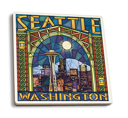 Lantern Press Seattle, Washington - Stained Glass Window (Set of 4 Ceramic Coasters - Cork-Backed, Absorbent)