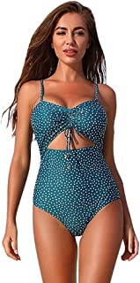 YSY-CY Sexy sling print one-piece swimsuit bikini quick-drying swimsuit suitable for swimming, beach, vacation, honeymoon, going out, pool party thickening bra sexy female push-ups triangle swimsuit S