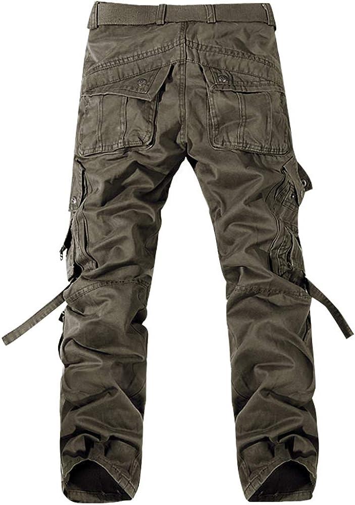 Kuson Hommes Pantalons 100/% Coton Cargo Sport Multi-Poches Epais Outdoor L/âche sans Ceinture