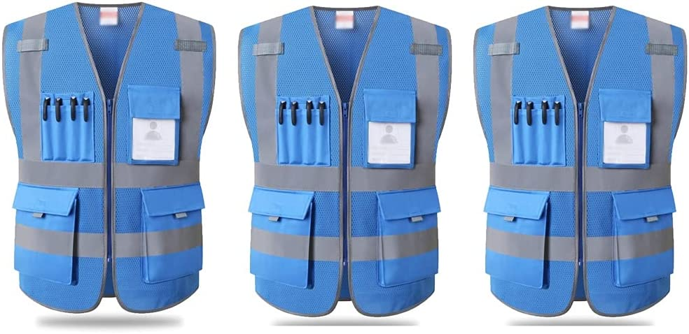 Front Zipper Reflective Vest Pockets Latest item Visibi High Multifunctional Great interest