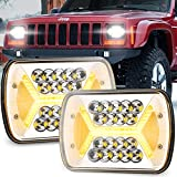 Yorkim Upgrated Newest 5x7 Led Headlights H6054 Headlight 7x6 inch Sealed Beam Square Headlamp with High Low Beam Dot Lights for Jeep Wrangler YJ Cherokee XJ 6054 H5054 H6054LL 6052 6053, Pack of 2