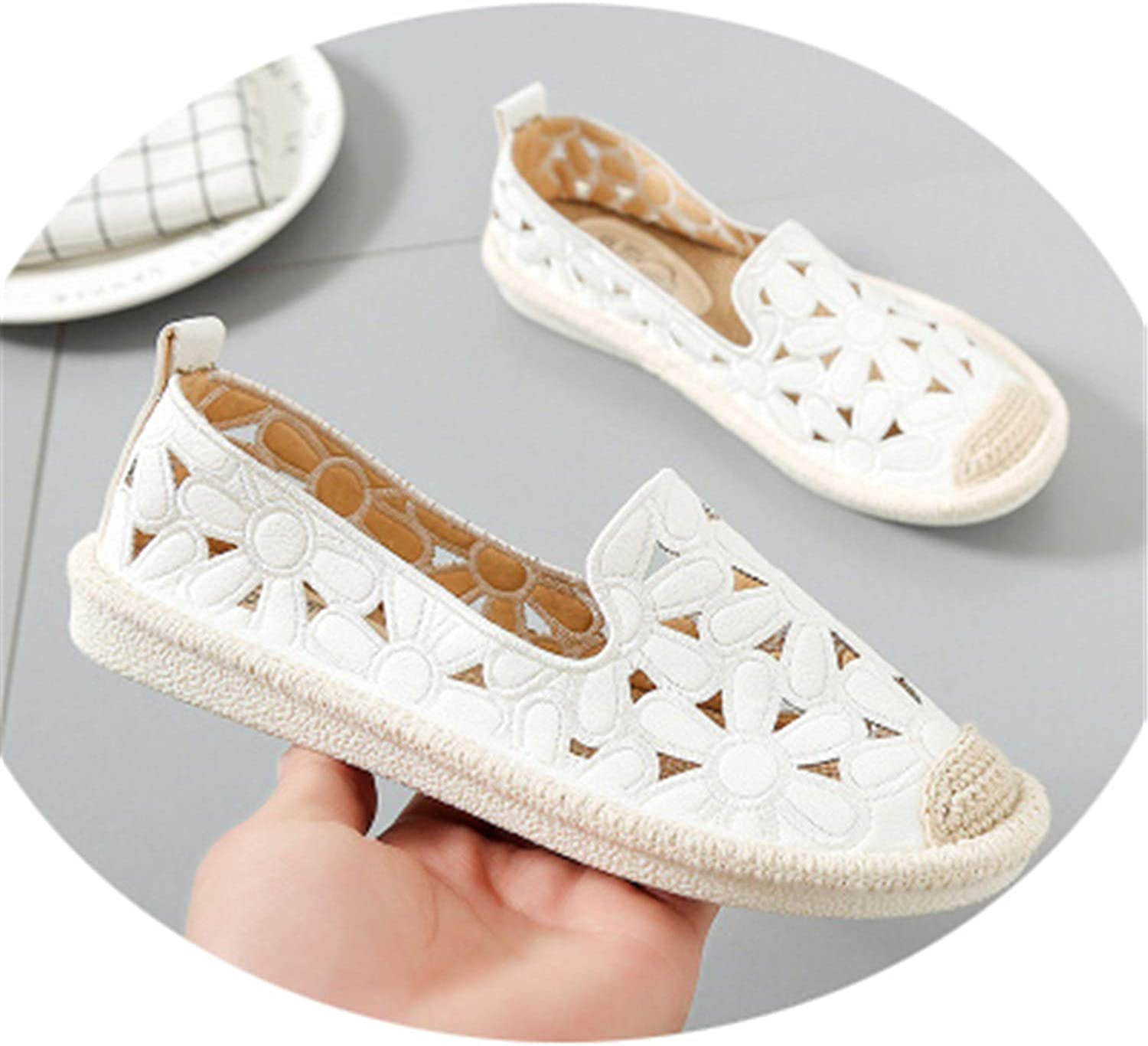 Reputation1 Flat New Women Flats Embroidery Straw Fisherman shoes Cut Out Hollow Out Casual shoes Spring Summer Green Whit