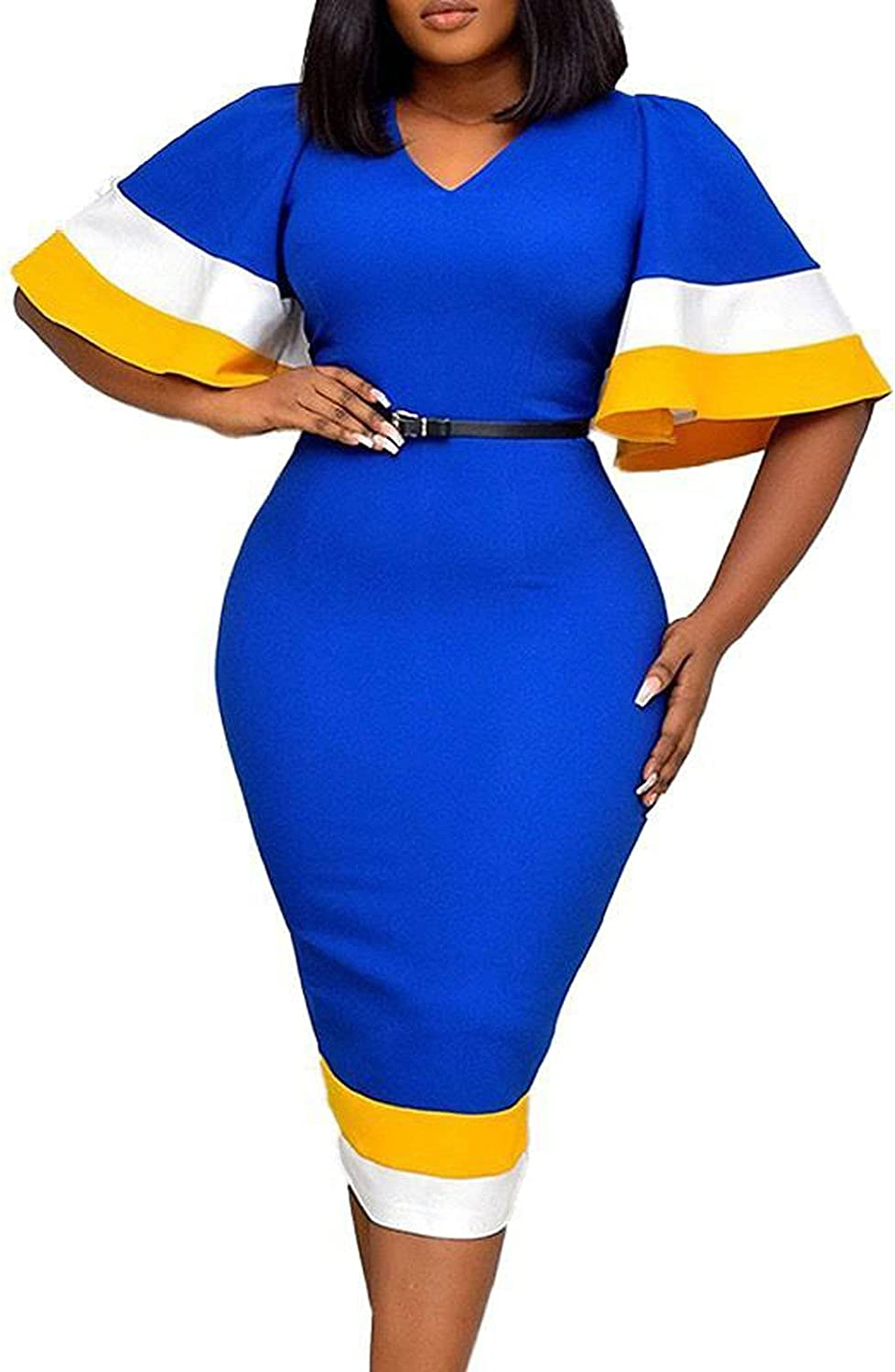 PAPIYON Plus Size Dress for Women Summer Sexy V Neck Flared Sleeves Long Dress Slim Bodycon Pencil Skirt Color Block Dress