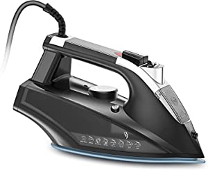 Steam Iron for Clothes 1800W Portable Steam-Dry Irons, Non-Stick Soleplate Home Steam Iron Large Water Tank, Self-Cleaning Function, Anti-drip Iron with Auto-Off
