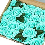 IngTall Artificial Flowers 25pcs Real Looking Tiffany Blue Fake Roses with Stem for DIY Wedding Bouquets Centerpieces Bridal Shower Party Home Decorations