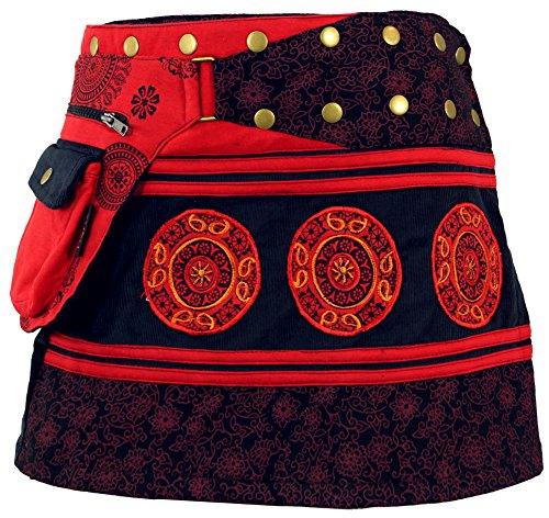 GURU-SHOP, Falda de la Envoltura de la Cuerda, Mini Falda, Falda Corta de Goa, Largo del Cacheur, Negro/Rojo, Algodón, Tamaño:One Size, Fajas y Adulador de la Cadera