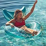 Noa Piscina gonfiabile con schienale, galleggiante blu sirena, giocattolo per piscina piscina piscina piscina galleggiante giocattolo estivo per adulti