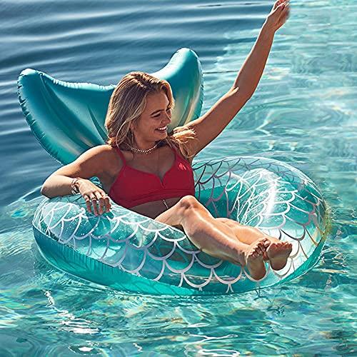 Aufblasbarer Schwimmreifen mit Rueckenlehne, Schwimmring Meerjungfrau Poolspielzeug Fischschwanz Schwimmsessel Schwimmen Float Pool Sommerspielzeug
