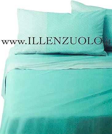 b41622c76d Bassetti Lenzuola matrimoniali 2 piazze Dream BLOTH Verde Acqua in Puro  Cotone sopra + sotto +