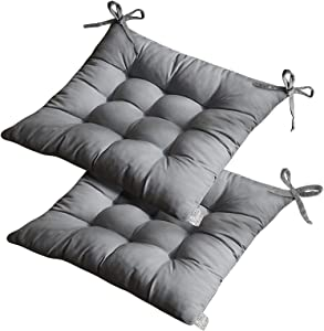 Set of 2 Outdoor Chair Cushions, Thick Soft and Comfortable Dining Chair Cushions with Ties for Indoor Outdoor Garden Car Office Patio Furniture Decoration. (15.7515.75 inch) (Grey)
