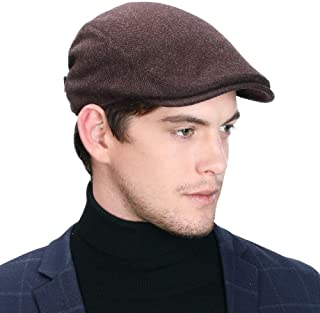 2020 New Mens Winter Wool Newsboy Cap Adjustable Cold Weather Flat Cap Soft Lined