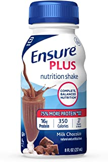 Ensure Plus Complete Balanced Nutrition Drink, Ready to Use, Milk Chocolate Shake, 24-8 Fluid Ounce Bottles
